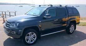 VW AMAROK HIGHLINE 180, 4Motion PermTDI- Blue-8-speed Auto-Tow Bar-Roof Bars £18500