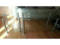 Two glass coffee tables