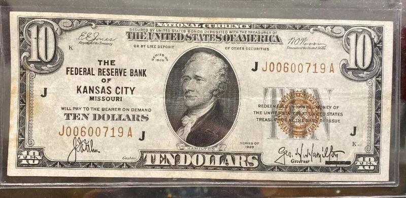 $10 1929 Federal Reserve Bank Note Kansas City, Missouri, J-A Block, FR 1860