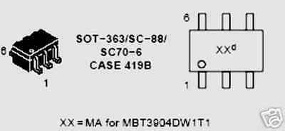 Tr12 On Semi Transistors Mbt3904dw1t1 Smd 40 Pcs
