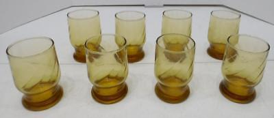 """VTG SET OF 8 AMBER GOLD YELLOW JUICE DRINKING GLASSES 4.25"""" TALL"""