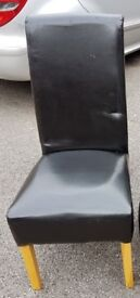 BLACK High Scroll Back Leather Chair FREE DELIVERY 208