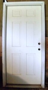 New Exterior 32 Prehung Steel Solid Wood Core 6 Panel White Primed Entry Door Ebay
