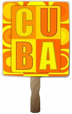 Cuban Party Decorations (Retro Style Hand Fan (abanico) with Wooden Handle (8 x 8