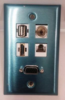 STAINLESS STEEL SINGLE GANG WALL PLATE - VGA/SVGA + USB + 3.5MM + CAT5E + HDMI ()