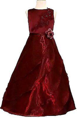 Girl Pageant Wedding Flower Evening Formal Dress Size 4 6 8 10 12 14 16 Burgundy