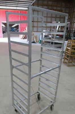 Aluminum Full Size 12 Shelf Side Load Sheet Pan Rack Cart Mobile Bun Tier