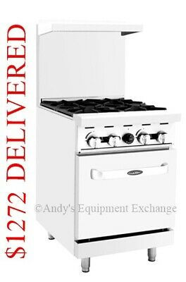 New 24 Inch 2 Foot Wide Commercial Restaurant 4 Burners Gas Range With Oven Nsf