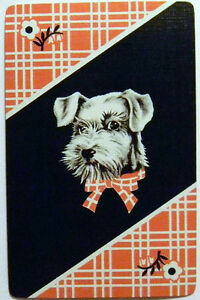 TATTERS-TERRIER-DOG-RED-PLAID-VINTAGE-ART-DECO-1930s-NAMED-SWAP-PLAYING-CARD