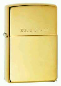 Plain Engravable Zippos High Polished Brass Zippo Lighter with Solid Brass on lid