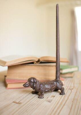 Rustic Cast Iron Dachshund Paper Towel Holder Dog Pet Storage