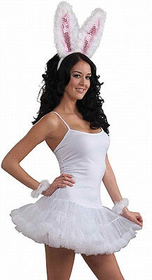 Womens White Slip Dress With Attached Crinoline NEW one size fits most Costume - Costume With White Dress