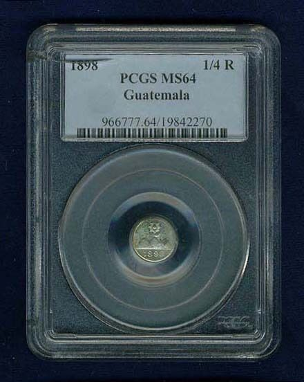 GUATEMALA  REPUBLIC 1898  1/4 REAL COIN CERTIFIED CHOICE UNCIRCULATED PCGS MS64