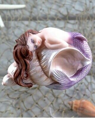 Whimsical Collectible Sleeping Mermaid Figurine Sculpture in Conch Shell NEW  (Mermaid Figurines)