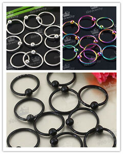 10/50/100 Stainless Steel Nose Eyebrow Tongue Hoop Circle Stud Ring Piercing Hot