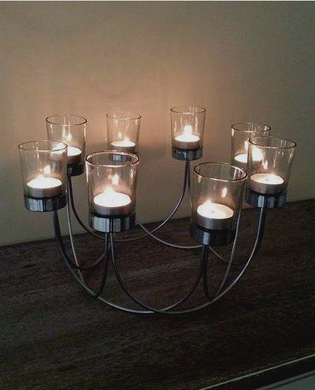 Silver christmas table centrepiece tea light candle holder for Ornamental centrepiece for a dining table