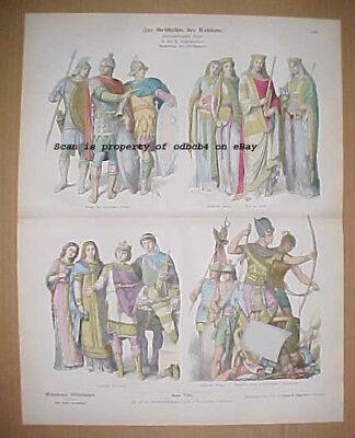 ANCIENT EGYPT, ROME, 500-1000 A.D.  Historic Fashions, Antique Stone Lithograph