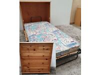Hideaway Single Guest Bed Pine Bun Feet Mattress Used Bedroom Furniture
