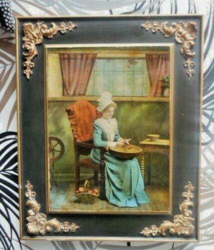 Vintage Reverse Painted Image on Glass of Colonial Woman Peeling Apples