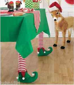 SET 4 CHRISTMAS ELF CHAIR TABLE SML FURNITURE LEG COVERS ELVES STOCKINGS SHOES