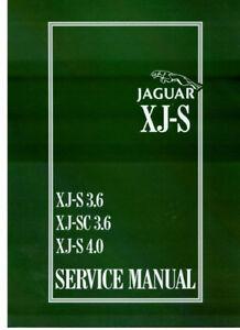 JAGUAR XJS SHOP MANUAL SERVICE REPAIR BOOK XJ-S 4.0 3.6 6CYL WORKSHOP 1984-1996