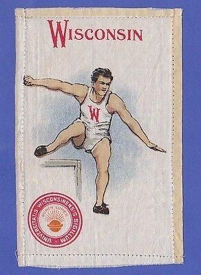 c1910s S22 tobacco silk / felt UNIVERSITY OF WISCONSIN HURDLER