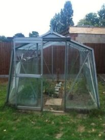 Green House 10ft x 8ft Metal frame in concrete base