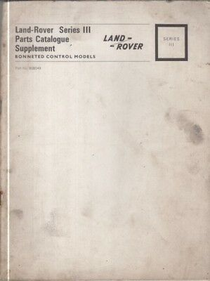 LAND ROVER SERIES III ORIGINAL 1972 FACTORY SPARE PARTS CATALOGUE SUPPLEMENT