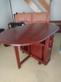 Folding Table & Chairs - Mahogany Effect (Cat not included!)