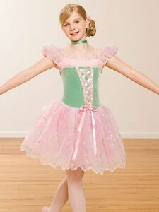 BALLET TAP DANCE LEOTARD COSTUME GIRL'S SZ LG PINK & MINT LKN