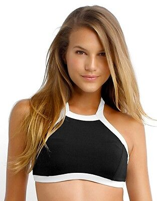 NWOT $112  SEAFOLLY   AU 10 /  US 6  BLACK BLOCK PARTY  HIGH NECK TANK  TOP ONLY