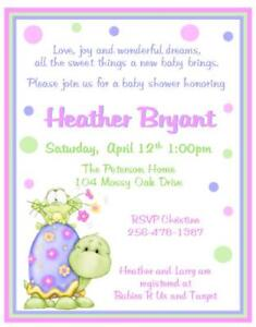 Turtle baby shower invitations ebay 12 sweet turtle and frog baby shower invitationsnew filmwisefo