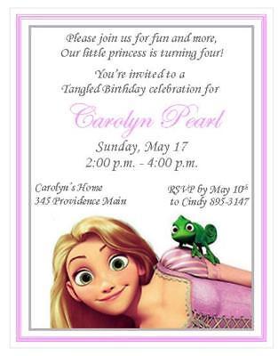 12 Printed Rapunzel Tangled Invitations ~ Style #1 - Tangled Invitations