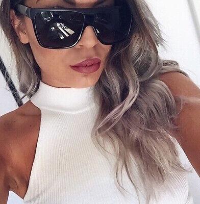 Large Big Dark Lens Square FLAT Zz TOP BarNun Designer Oversized Sunglasses (Dark Sunglasses Zz Top)