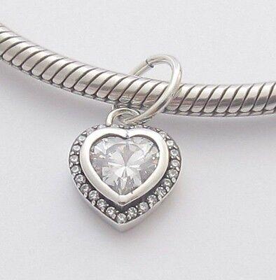 SPARKLING HEART CHARM Bead Sterling Silver.925 For European Bracelets 791