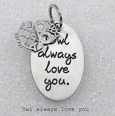 Owl Always Love You Necklace Stainless Steel Silver Message 2 Piece 19-21
