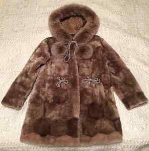 Girl's Elegant Mutton Fur Hooded Coat for sale! Edmonton Edmonton Area image 1