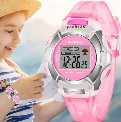 Kid Watch Waterproof Sport LED Alarm Digital Wristwatch for Girl Pink Xmas Gift