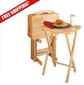 5 Piece Tray Table Set Wooden Tv Card Laptop Snack Craft Dinner Serving New