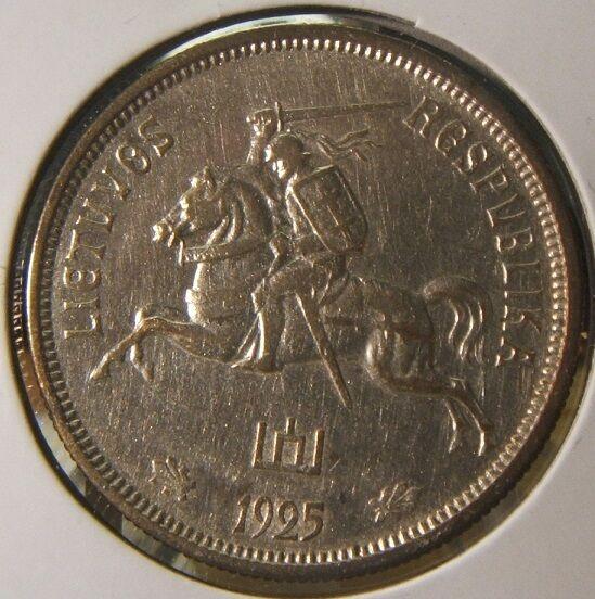 1925~~LITHUANIA~~SILVER 5 LITAI~~AU-BU BEAUTY~~SCARCE