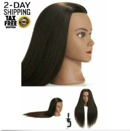 COSMETOLOGY MANNEQUIN HEAD 100 Human Hair Hairdresser Training with Free Clamp