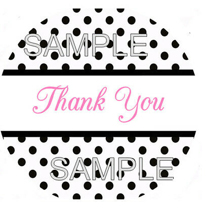 WHITE WITH BLACK POLKA DOT THANK YOU STICKER - SEAL LABELS - LASER - Black Dot Stickers