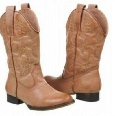 NEW Volatile Kids Grit Girl's Cowboy Boots Color Tan Size 2 Youth (Big Kids)