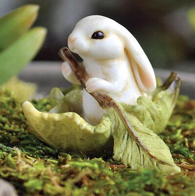FAIRY GARDEN MINIATURE Bunny Rabbit Rowing a Leaf Boat Figurine NEW #G16644