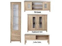 Brand New Oklahoma 4 Piece Display Unit Coffee Table Cupboard TV Unit Set Oak Effect