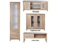 Brand New Oklahoma 4 Piece Display Unit Coffee Table Cupboard TV Unit Set Oak Effect