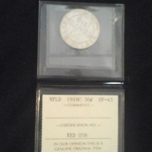 1918  NFLD silver 50 cent coin