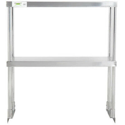 Stainless 12 X 30 Steel Work Prep Table Commercial Double Deck Overshelf Shelf