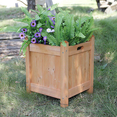 NATURAL WOOD SQUARE OUTDOOR PLANTER WOODEN GARDEN PLANTPOT FLOWERS PLANT DISPLAY