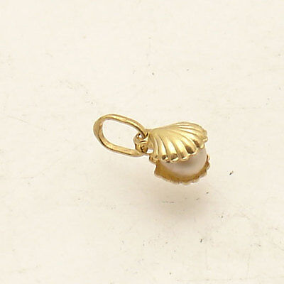 3D Small Tiny Nautical Sea Shell Pearl Charm Pendant Real 14K Yellow Gold